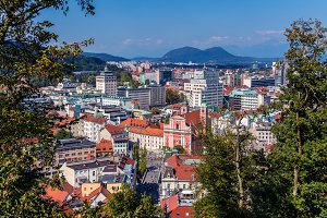 Aerial view of Ljubljana, Slovenia
