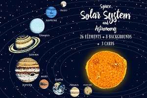 Planets in Solar System. Space.