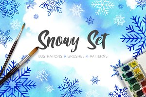 Snowflakes Watercolor Set