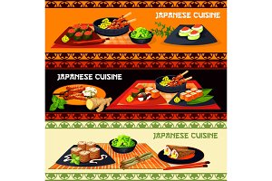 Japanese restaurant banner with dinner dishes