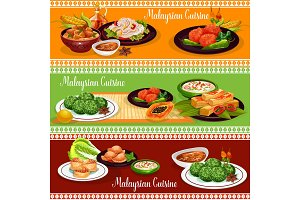 Malaysian restaurant banner with exotic dishes