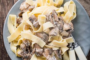 Pasta tagliatelle  with  mushrooms