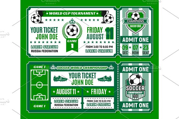 Soccer Ticket Template Of Football Cup Tournament