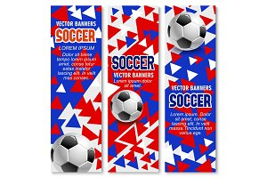 Soccer ball 3d banner of football sport game club