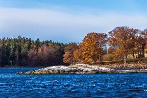 A rocky island. Fall time.