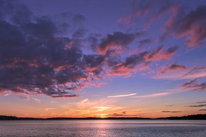 Purple sunset over the lake Malaren.