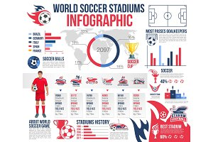 Soccer stadiums infographic of football sport game