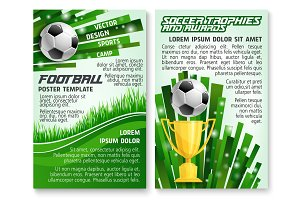 Soccer ball and trophy on football stadium banner