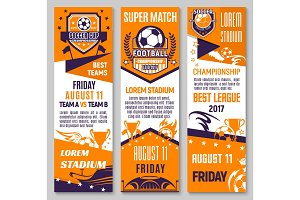 Soccer championship match banner of football sport