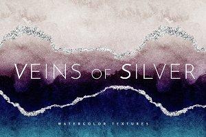 Watercolor Texture Ombre Silver Foil