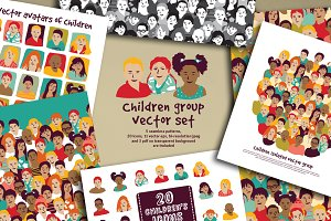 Children group vector set