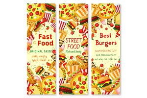 Fast food banner with frame of lunch meal, drinks