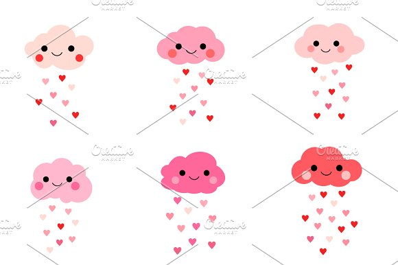 Cute Love Clouds With Hearts Clipart