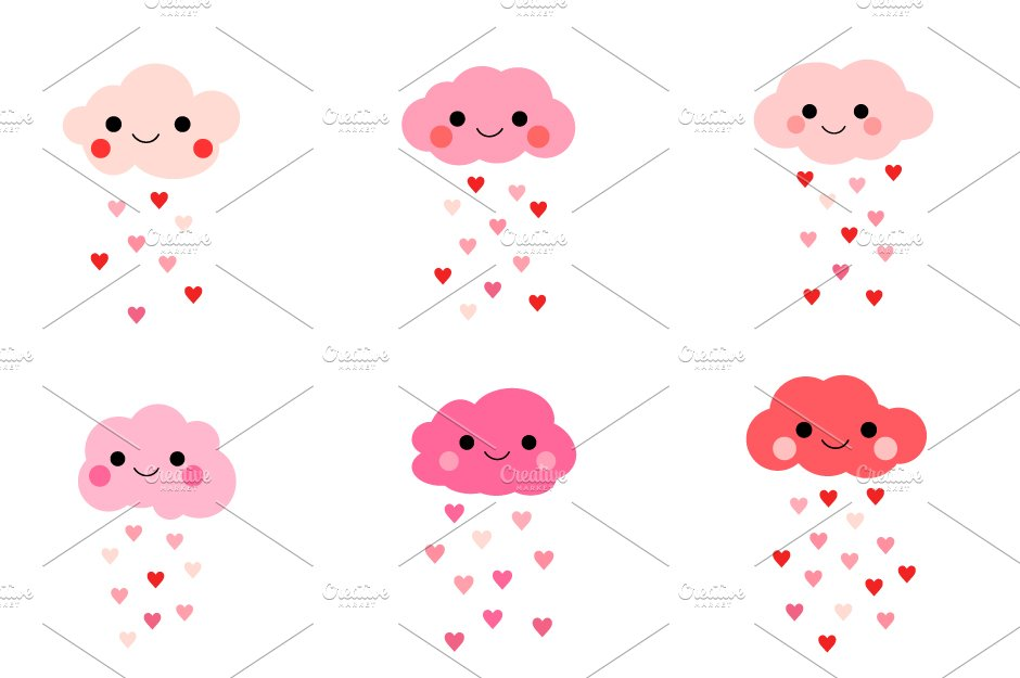 Cute love clouds with hearts clipart ~ Illustrations ...