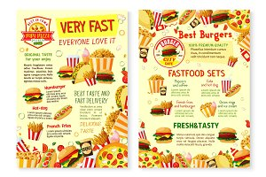 Fast food restaurant poster with menu template