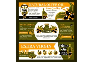 Natural olive oil product banner set, food design