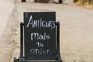 Humorous sign for Antique mall in California