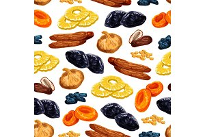 Vector seamless pattern of dried fruits snacks