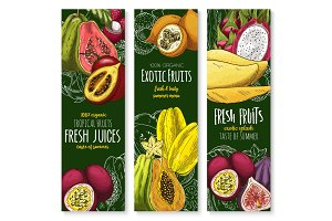 Vector banners of tropical exotic fruit juice sketch