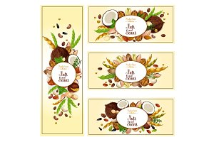 Nuts, bean, seed superfood label set, food design