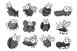 Insect cartoon character for childish design