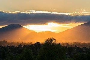 Brilliant sunset near Ramona in California