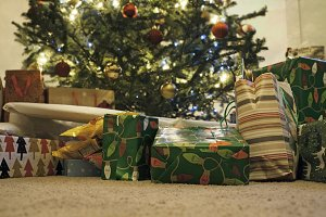 Christmas Presents Under Tree.Christmas Presents Under Tree