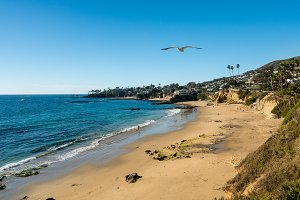 View of the coastline at Laguna Beach in California