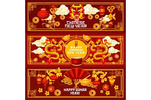 Chinese New Year ornaments vector greeting banners