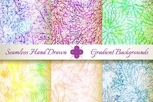 6 Seamless Gradient Florals. Set#7