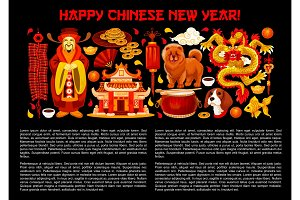 Chinese lunar New Year symbols vector poster