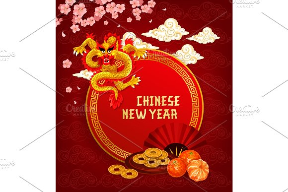 chinese lunar new year greeting card with dragon illustrations creative market