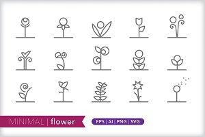 Minimal flower icons