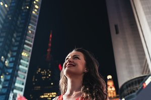 Beautiful woman in Times Square.