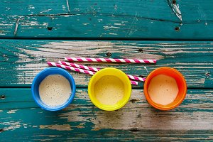 Yellow smoothie jars