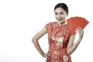 Chinese woman dress hold envelope