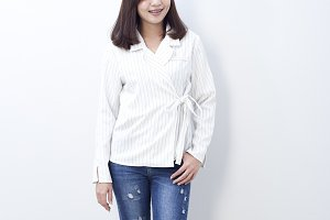 asian young woman in a blue jeans