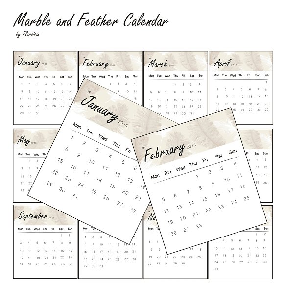 Marble And Feather Calendar 2018