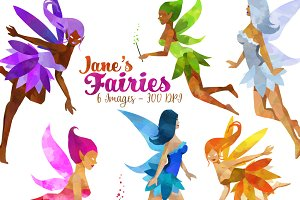 Watercolor Fairies Clipart