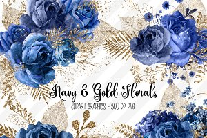 Navy and Gold Floral Clipart