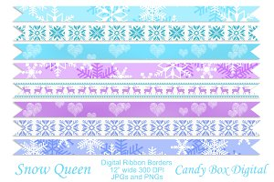 Snow Queen Digital Ribbon Borders
