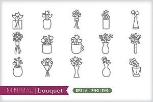 Minimal bouquet icons