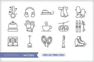 Minimal winter icons