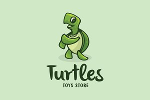 Turtles Dance Cartoon Logo