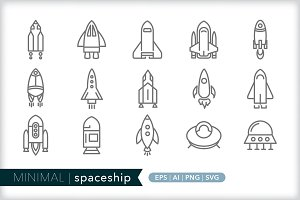 Minimal spaceship icons