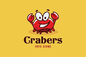 Crab Happy Cartoon Logo