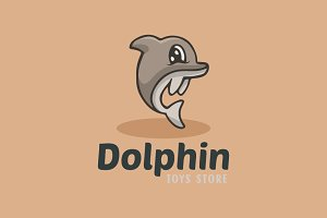 Baby Dolphin Cartoon Logo