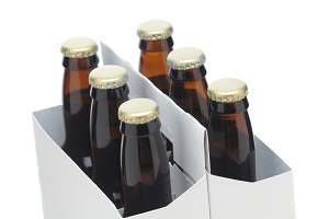 Close up of Six Pack of brown Beer B