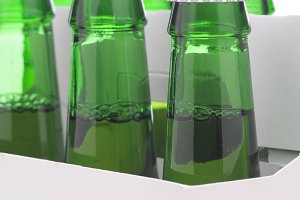 Close up of a Six Pack of Green Beer
