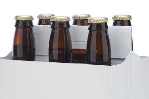 Close up of a Six pack of Brown beer